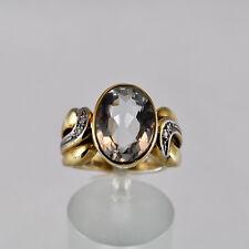Aquamarin Ring Gelbgold 585 Beryll Größe 55 Handarbeit Idar Oberstein Brillant