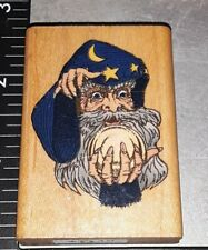 Wizard with crystal ball,comotion,E4,wooden, rubber stamp