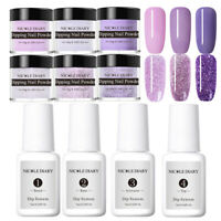 10Pcs Set NICOLE DIARY Dipping Powder Glitter Nail Art Dip Liquid Starter Kit