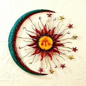 "21""Dia Sun Moon Star Celestial Metal Wall Art Sculpture Indoor/Outdoor Decor"