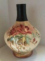 Antique RH Austria Floral Decorated Porcelain Vase Gold Trim Flowers Leaves