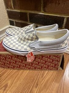 Vans Classic Slip On Checkerboard Mens Size 11 Silver Metallic Shoes no box lid