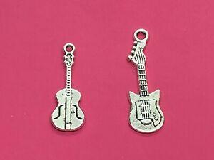 Tibetan Silver Guitar Charms  - Choose Design - Music/Instruments