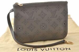Authentic Louis Vuitton Mahina Selene Hand Pouch Gray LV C3141