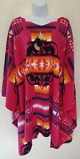 Pink Native American Southwestern Tribal Poncho Maxi Coat Dress Festival Bridal