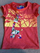 BNWT NEXT Orange Hand Embellished Giraffe Short Sleeved Top T-Shirt 4 Years