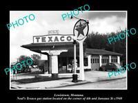 OLD POSTCARD SIZE PHOTO OF LEWISTOWN MONTANA THE TEXACO GAS STATION c1940