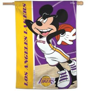 """LOS ANGELES LAKERS MICKEY MOUSE HOUSE FLAG 28""""X40"""" VERTICAL BANNER NBA LICENSED"""