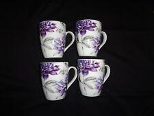 Set of 4 Deep Purple Floral Design, 12oz Porcelain Coffee/Latte/Tea Mugs
