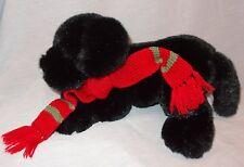"Black Lab Dog Puppy  Scarf Plush Stuffed Animal  Eddie Bauer 7"" Holiday Winter"