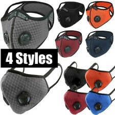 Mesh Dual Air Valves Reusable Cycling Sports Face Mask With Active Carbon Filter