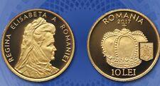 ROMANIA 10 Lei 2017 Gold PROOF Rumänien Queen ELISABETH Regina ELISABETA 1.2gram