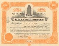 S.E.J. Cox Company > 1920 Houston Texas 100 shares stock certificate