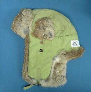 Mad Bomber Trapper Hat Light Green & Rabbit Fur size Large