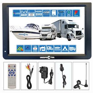 "Motorhome Caravan Boat 12"" Inch PORTABLE TV Freeview HD USB & SD PVR 12 V 240 V"