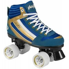 New! Playlife Groove Blue & Gold Indoor / Outdoor Quad Roller Skates