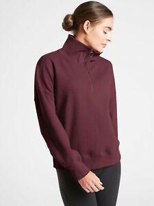 NWT Athleta Womens Cozy Karma Pullover Sweatshirt Top 1/4 Zip ANBR Size S