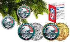 MIAMI DOLPHINS Colorized JFK Half Dollar 2-Coin Set NFL Christmas Tree Ornaments