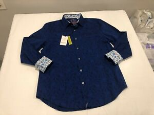 NWT $188.00 Robert Graham Mens Hanging Gardens LS Buttondown Navy Paisley LARGE
