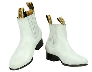 Mens Chelsea Ankle Western Cowboy Boots Off White Nubuck Leather Botines