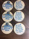 Set of 6 Vintage SCHLITZ LIGHT BEER Bottle ADVERTISING COASTERS 1976 Mil Brewing