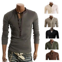 New Men's Casual Slim Fit Button Front T-Shirt V-neck Long Sleeve Shirts Tops