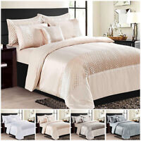 Luxury Crushed Velvet Bedding Set Duvet Quilt Cover with Pillow Case & Cushions