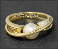 Diamant & Perlen 750 Gold Ring, 0,05ct Brillanten, Goldschmied Designer Schmuck