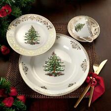 Christmas Tree China Dinnerware Tableware Dishes Gold Tea Cup Kitchen Buffet Red