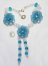 Spectacular Huge Chunky Aqua Blue 3D Flowers & White Crystal Necklace, 18""