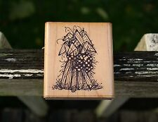Corn Husk Bunch Wood Mounted Rubber Stamp Halloween Fall Q 135 by D.O.T.S.