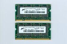 Micron 256MB (2x128MB) PC-2100 DDR  266MHz SODIMM 200 pin Laptop Memory Cards