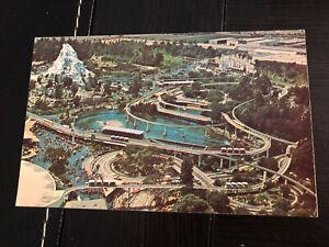 Rare DISNEYLAND Postcard-Aerial View Cars Matterhorn Small World Outskirts PC