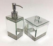 NEW BELLA LUX 2 PC SET GLASS MIRROR CRYSTAL FANCY BATHROOM SOAP DISPENSER+JAR