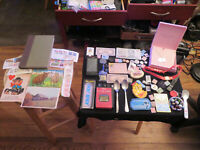 Junk Drawer Lot watches old coins jewelry old atari game old spoons old cell ph