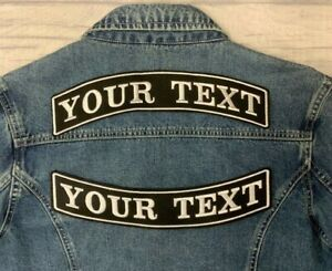"11.5"" TOP & BOTTOM ROCKER PATCH BIKER PERSONALISED CUSTOM SEW EMBROIDERED PATCH"