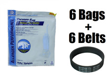 6 Style F Bags for Kirby Allergen Filtration Vacuum Bags with 6 Belts by DVC