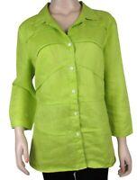 Lafayette 148 New York Green Linen Button Down Shirt Sz 12