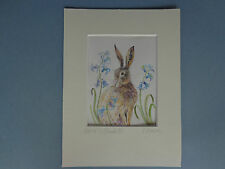 """""""HARE AMONGST BLUEBELLS"""" A lovely Watercolour Painting by Sandra Mason"""