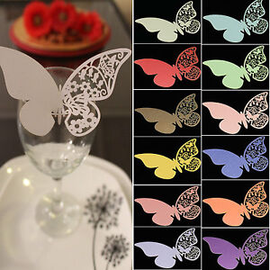 50pcs Butterfly Laser Cut Paper Place Card for Wedding Party Wine Glass Cup Card