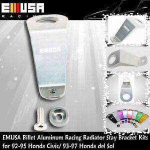 EMUSA Billet Aluminum RacingRadiator StayBracketKit fit 92-95 Honda Civic SILVER