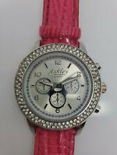 "Ashley Princess Quartz Pink Rhinestone Watch. 9.5"" in length. Water resistant."