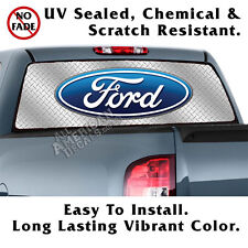 Ford Diamond Plate BACK Window Graphic Perforated Film Decal Truck SUV