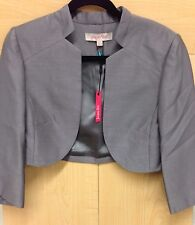 Jacques Vert Gray Shimmer Bride Bolero Jacket Shrug Formal Dress New! UK Sz 16