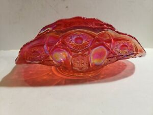 L.E. Smith, Fenton, Large Red Iridiscent Carnival Glass Oval Banana Display Bowl