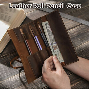 Genuine Leather Roll Pen Pouch Pencil Case Storage Bag Pen Sleeve Curtain