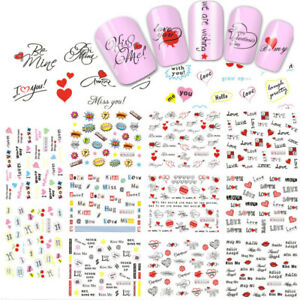 11 Sheets Nail Art Water Transfer Decal Hearts Love Kiss Letter Valentine's day