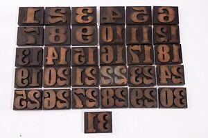 1-31 Vintage wood block LETTERPRESS numbers , printing, calendar