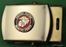 Marine Corps Belt & buckle -brass buckle & khaki tan web belt USMC