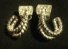 TRIFARI Silver tone Rhinestone Clip on earrings Beautiful design
